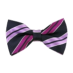 BL-43 | Lavender, Violet and Dark Navy Blue Dual Stripe Woven Pre-Tied Bow Tie