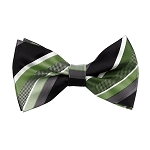 BL-20 | Multi Green w. Black and Silver Stripe Woven Pre-Tied Bow Tie