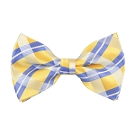 BL-25 | Steel Blue on Light Yellow Repp Striped Plaid Woven Pre-Tied Bow Tie