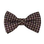 BL-26 | Burgundy and Copper Small Dotted Cross Check Woven Pre-Tied Bow Tie