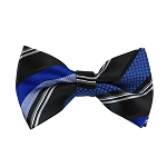 BL-30 | Royal Blue and Black Multi-Patterned Stripe Woven Pre-Tied Bow Tie