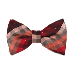 BL-31 | Red / Burgundy / Lite Coral Cross Weave Woven Pre-Tied Bow Tie