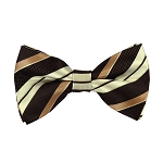 BL-33 | Cream / Copper w. Brown Multi-Repp Stripe Woven Pre-Tied Bow Tie