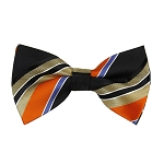 BL-35 | Orange / Black w. Beige Patterned Stripe Woven Pre-Tied Bow Tie