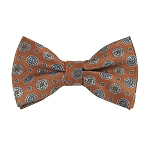 BL-36 |  Light Steel Blue / Beige on Bronze Orange Talisman Pattern Woven Pre-Tied Bow Tie