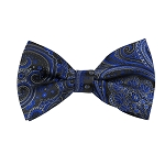 BL-37 |  Royal Blue w. Charcoal Gray on Black Big Floral Paisley Woven Pre-Tied Bow Tie