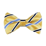 BL-39 | Steel Blue and Dark Navy Blue on Honey Gold Narrow Stripe Woven Pre-Tied  Bow Tie