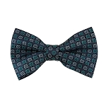 BL-40 | Teal Green and Silver Multi Small Dotted Woven Pre-Tied  Bow Tie