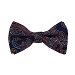 BL-44 | Dark Orange and Silver On Navy Blue Floral Paisley Woven Pre-Tied Bow Tie