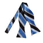 BLS-01 | Steel Blue and Black Multi Striped Woven Self Tie Bow Tie
