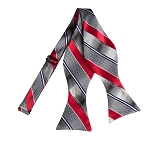 BLS-03 | Gradient Gray and Crimson Red Geo Multi Striped Woven Self Tie Bow Tie