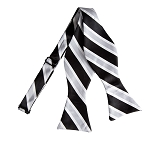 BLS-05 | Black, Silver and White Wide Striped Woven Self Tie Bow Tie