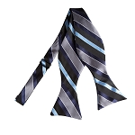 BLS-06 | Navy, Steel Blue, Black and Charcoal Multi Striped Woven Self Tie Bow Tie