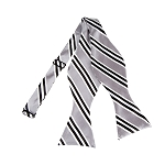BLS-07 | Black, Silver and White Narrow Striped Woven Self Tie Bow Tie