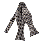 BLS-10 | Black, Brown, Steel and Honey Gold Bricks Woven Self Tie Bow Tie