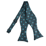 BLS-12 | Oasis Blue and Black Retro Flower Woven Self Tie Bow Tie