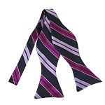 BLS-43 | Lavender, Violet and Dark Navy Blue Dual Stripe Woven Self Tie Bow Tie
