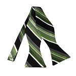 BLS-20 | Multi Green w. Black and Silver Stripe Woven Self Tie Bow Tie