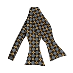 BLS-22 | Honey Gold / Brown and Periwinkle Cross Check Woven Self Tie Bow Tie