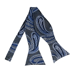 BLS-24 | Royal Blue and Silver Big Floral Paisley Woven Self Tie Bow Tie