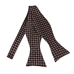 BLS-26 | Burgundy and Copper Small Dotted Cross Check Woven Self Tie Bow Tie