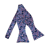 BLS-28 | Steel Blue and Pink on Navy Floral Paisley Woven Self Tie Bow Tie