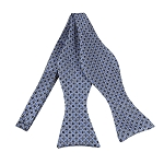 BLS-29 | Light Blue and Black Geometric Dots Woven Self Tie Bow Tie