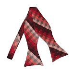 BLS-31 | Red / Burgundy / Lite Coral Cross Weave Woven Self Tie Bow Tie