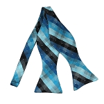 BLS-32 | Multi-Shade Blue and Black Cross Weave Woven Self Tie Bow Tie