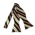 BLS-33 | Cream / Copper w. Brown Multi-Repp Stripe Woven Self Tie Bow Tie