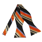 BLS-35 | Orange / Black w. Beige Patterned Stripe Woven Self Tie Bow Tie