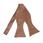 BLS-36 |  Light Steel Blue / Beige on Bronze Orange Talisman Pattern Woven Self Tie Bow Tie
