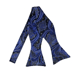 BLS-37 |  Royal Blue w. Charcoal Gray on Black Big Floral Paisley Woven Self Tie Bow Tie