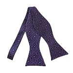 BLS-38 |  Eggplant Purple Small Teardrop Print Paisley Woven Self Tie Bow Tie