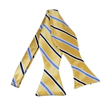 BLS-39 | Steel Blue and Dark Navy Blue on Honey Gold Narrow Stripe Woven Self Tie Bow Tie
