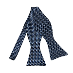 BLS-42 | Multi-Tone Blue Geometric Pixel Pattern Woven Self Tie Bow Tie