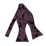 BLS-44 | Dark Orange and Silver On Navy Blue Floral Paisley Woven Self Tie Bow Tie