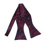 BLS-46 | Red / Steel Blue On Dark Navy Multi-Floral Paisley Woven Self Tie Bow Tie