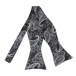BLS-49 | Silver / Steel Blue on Charcoal Grey Lotus Floral Paisley Woven Self Tie Bow Tie