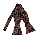 BLS-50 | Rust Red on Black Lotus Floral Paisley Woven Self Tie Bow Tie