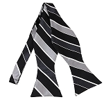 BLS-51 | Black, Charcoal, Silver and White Striped Men's Woven Self Tie Bow Tie