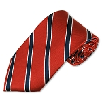M-04 | Navy and White Stripes on Clay Red Woven Necktie