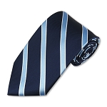 M-05 | Light Blue and White Stripes on Navy Woven Necktie