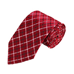 N-01 | Red, White and Black Plaid Woven Necktie