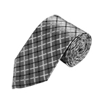 N-06 | Silver, White and Black Plaid Woven Necktie