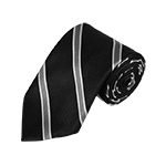 N-13 | Black, Silver and Grey Striped Woven Necktie