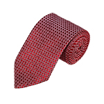 N-20 | Red w/ White Rounded Squares Woven Necktie