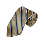 N-28 | Tan, Blue and Beige Striped Woven Necktie