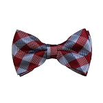 BD-11 | Red, Grey And Silver Checkered Woven Pre-Tied Bow Tie