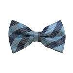 BD-12 | Sky Blue, Grey And Blue-Grey Checkered Woven Pre-Tied Bow Tie